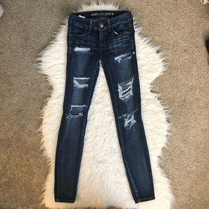 American Eagle super low jegging destroyed jeans